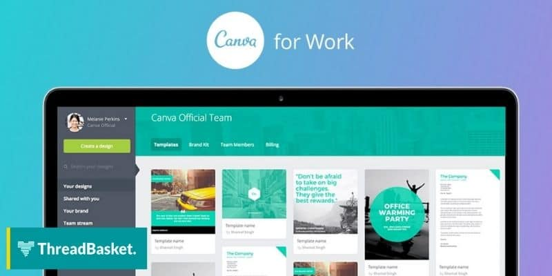 A screenshot of Canva, a web-based design tool you can use for free in designing merch.