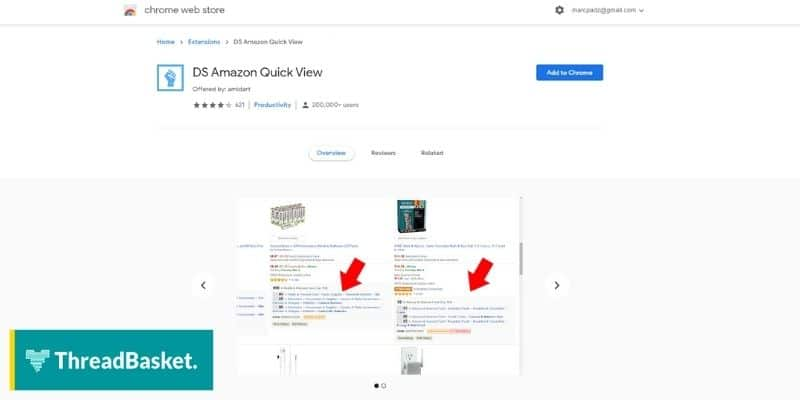 A screenshot of DS Amazon Quick View Chrome Extension Page, a keyword research and analytics tool for merch by amazon