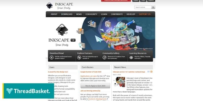 A screenshot of Inkscape's website homepage, a design tool that you can download and use for free in your merch business.