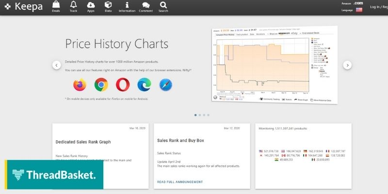 Screenshot of Keepa's website homepage, a free Merch by Amazon tool that keeps track of price history.