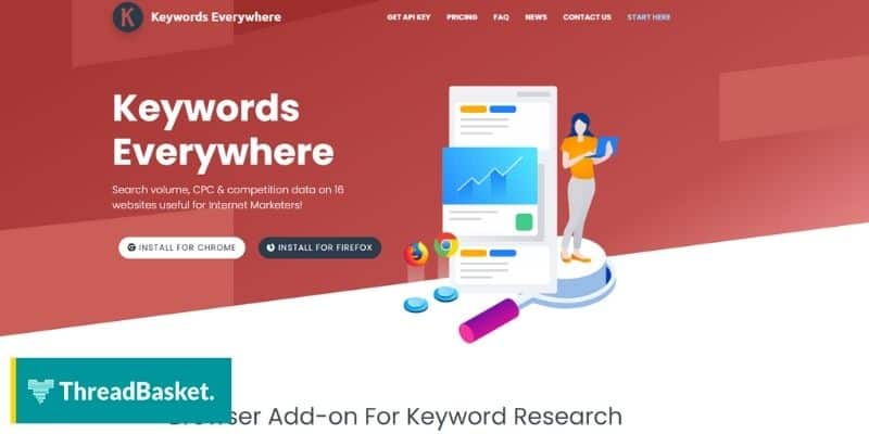 Screenshot of Keywords Everywhere website home page a free keyword research tool for merch