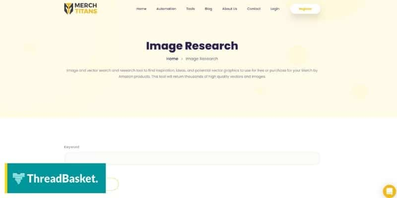 Screenshot of Merch Titan's free image research tool for Merch by Amazon
