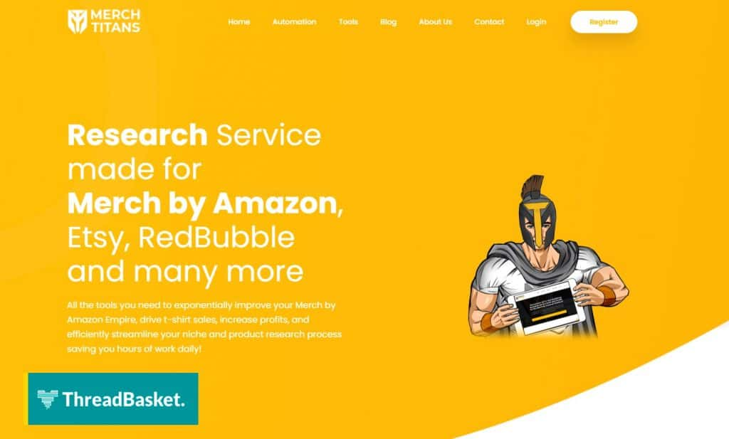 Screenshot of the homepage of research tool Merch Titans for Amazon MBA, redbubble, and etc.