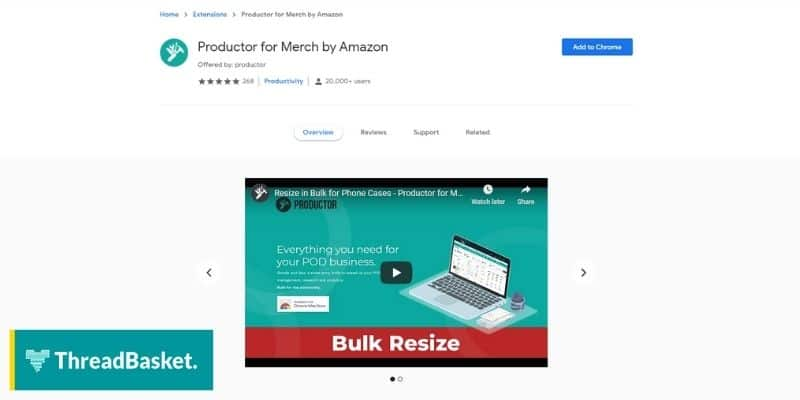 Screenshot of the chrome extension Product a free keyword analytics tool for merch by Amazon