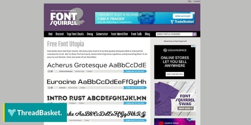 Screenshot of font squirrel free font design tool website homepage
