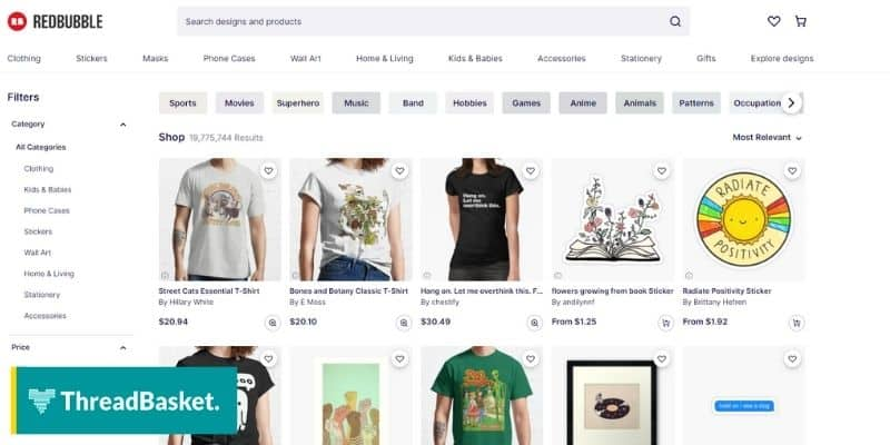 screenshot of a desktop version of redbubble a print on demand with tee shirt and stickers on display
