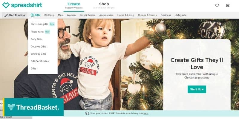 screenshot of a desktop version of spreadshirt a print on demand showing a banner with a father and child