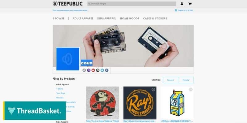 screenshot of a desktop version of teepublic home page with a banner that shows a cassette tape