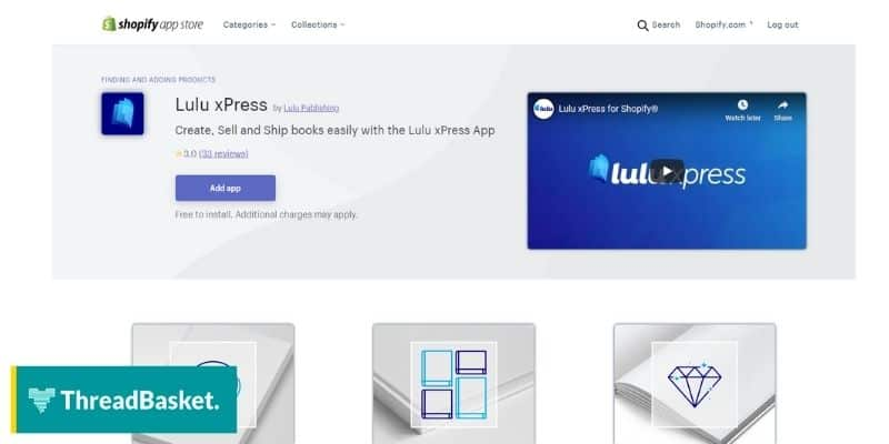 screenshot of lulu xpress app in shopify app store showing its logo and a video.