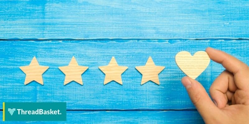 5 star customer rating with 1 heart