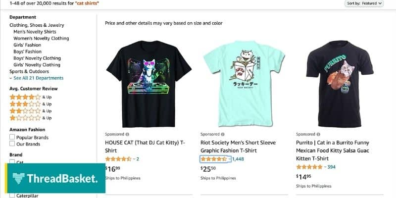 amazon merch products screenshot showing trendy top selling t shirts in merch by amazon