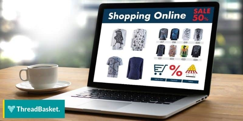 Print on demand store showing products and discounts