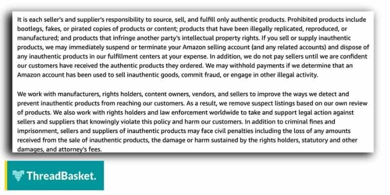 Screenshot of Amazon's Counterfeit Policy for Print ON Demand