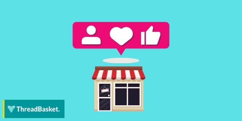storefront with instagram engagement icons