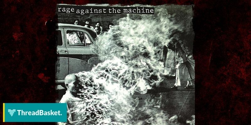 rage against the machine album cover man on fire