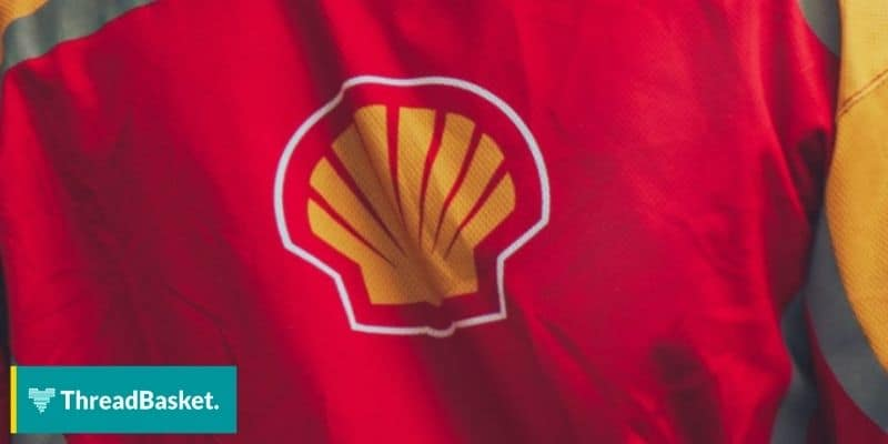 shell gasoline brand logo on crew tshirt
