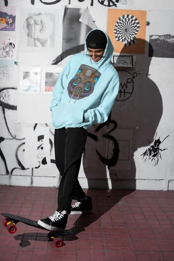 oversized hoodie mockup of a man skating at night m566