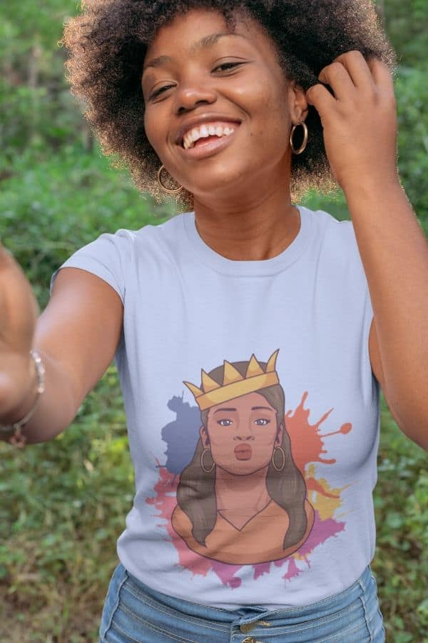 t shirt mockup of a smiling woman in the woods 30614