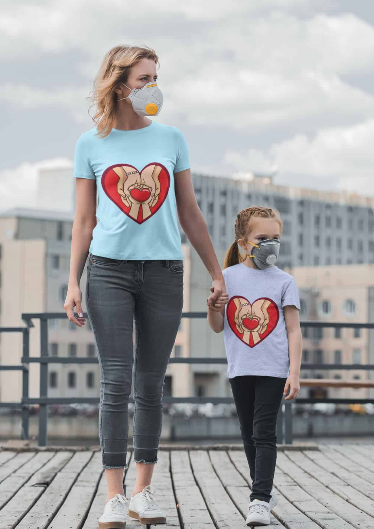 t shirt mockup of a woman and her daughter wearing face masks 45480 r el2