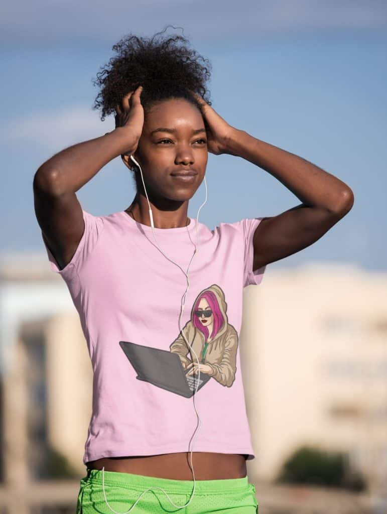 t shirt mockup of a woman listening to music before an outdoor run 45366 r el2