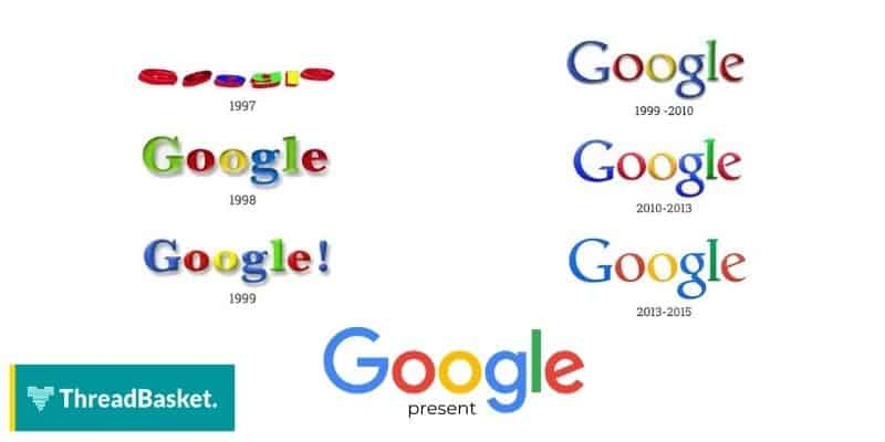 image of google's logo from 1997 to present