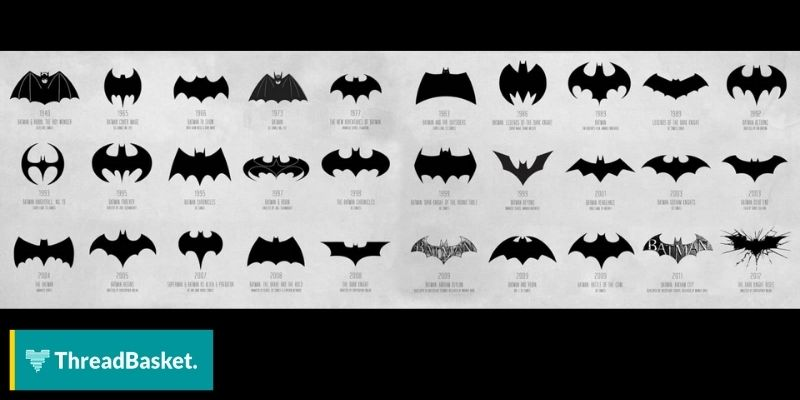 image of all batman logos across the years
