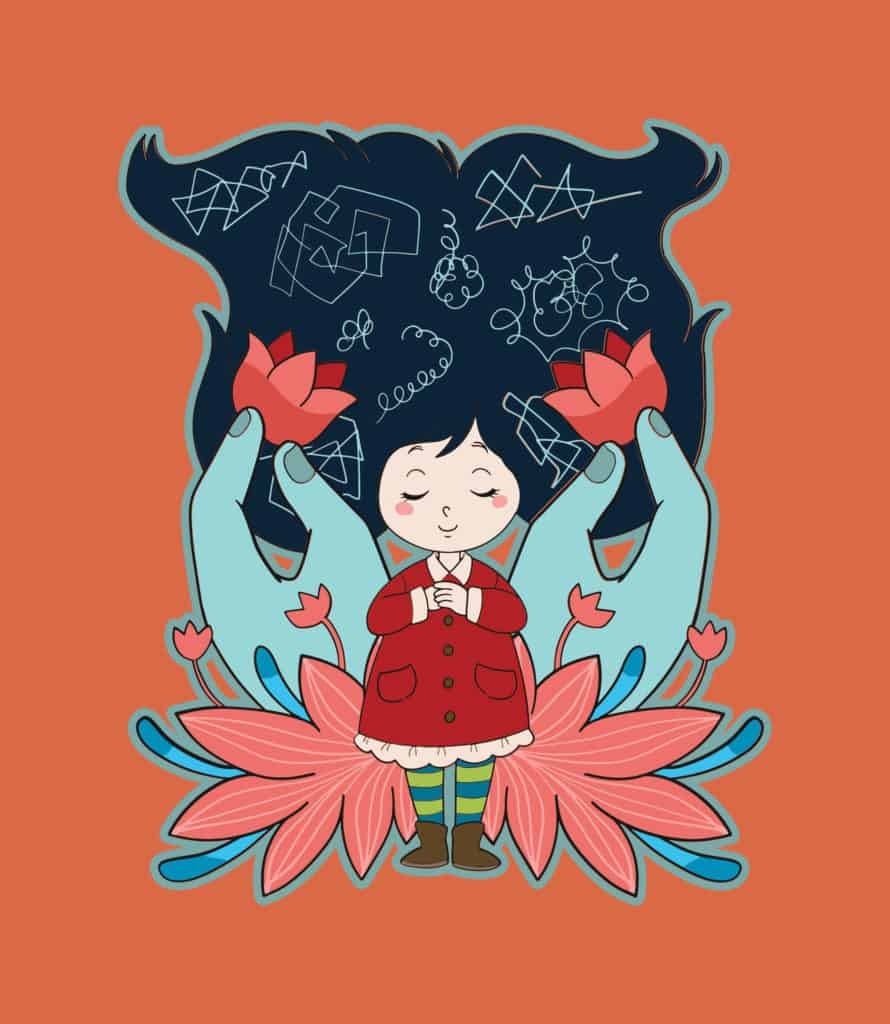 vector art of a girl magically dreaming