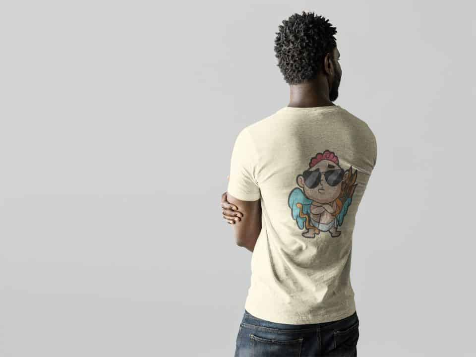 photo of a man showing the back of his shirt with a coolest cupid design