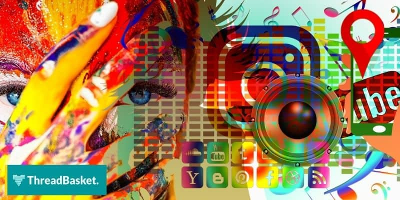 grafitti looking art with colorful social media logos