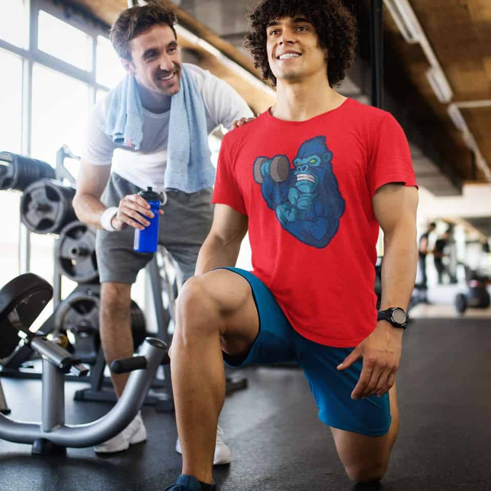 heathered tee mockup of a man training at a gym 44517 r el2