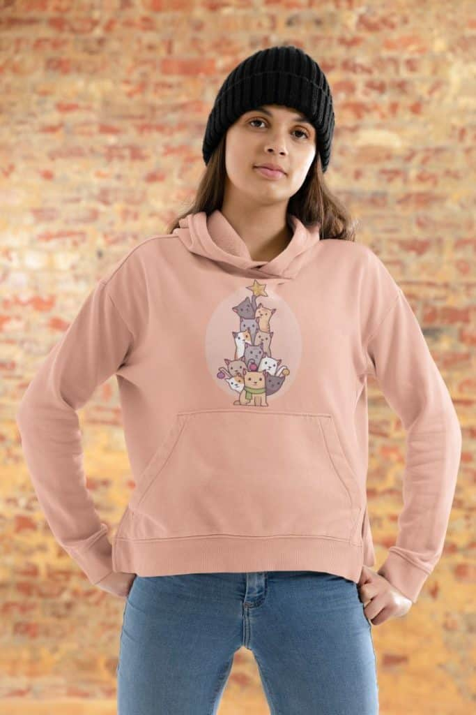 hoodie mockup featuring a woman and a brick wall in the background 46533 r el2