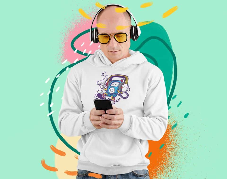 photo of a man listening to some music wearing a hoodie with a bop design