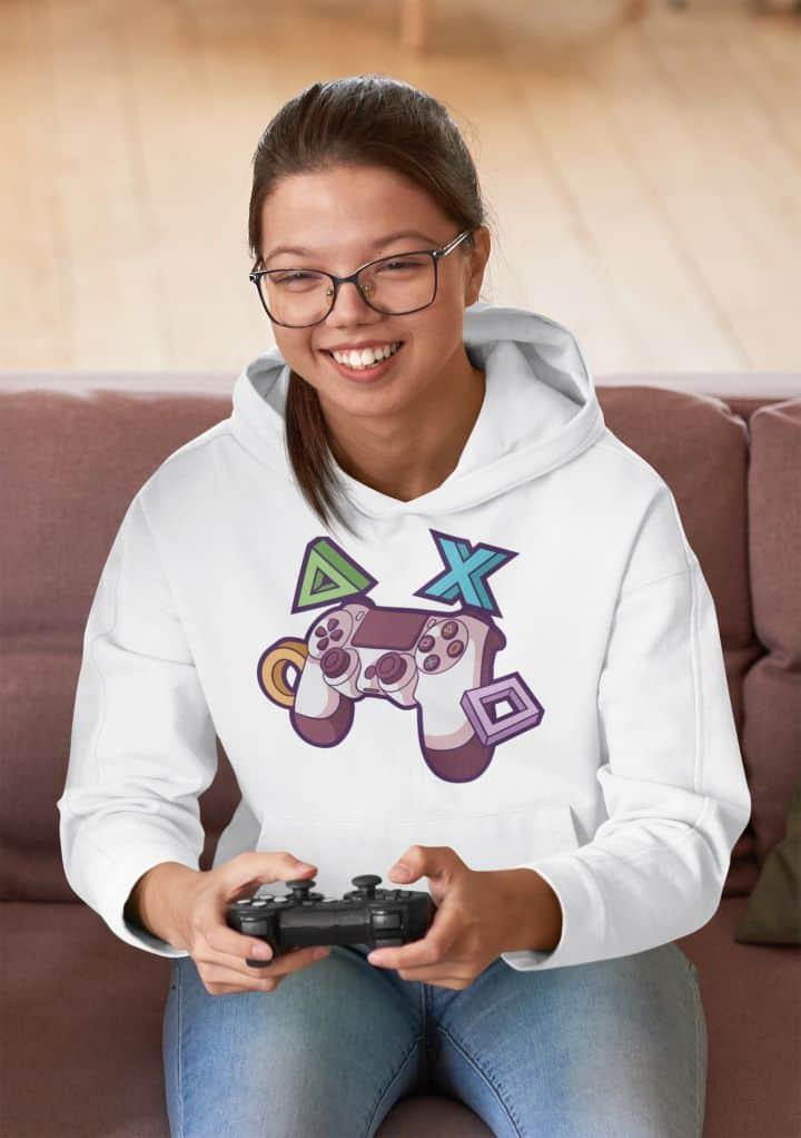 hoodie mockup of a young woman enjoying video games m2621 r el2