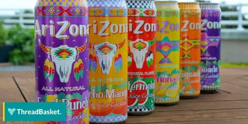 photo of arizona drinks can lines up with beach background