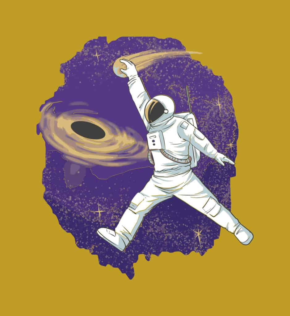 vector art of an astronaut dunking in space
