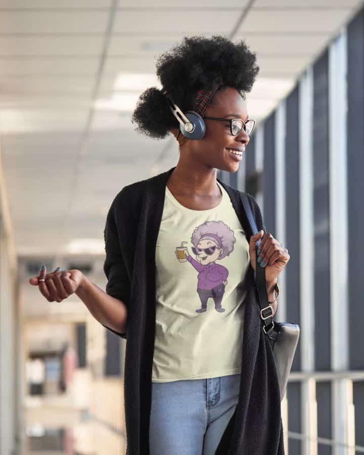t shirt mockup of a happy woman with headphones m2308 r el2