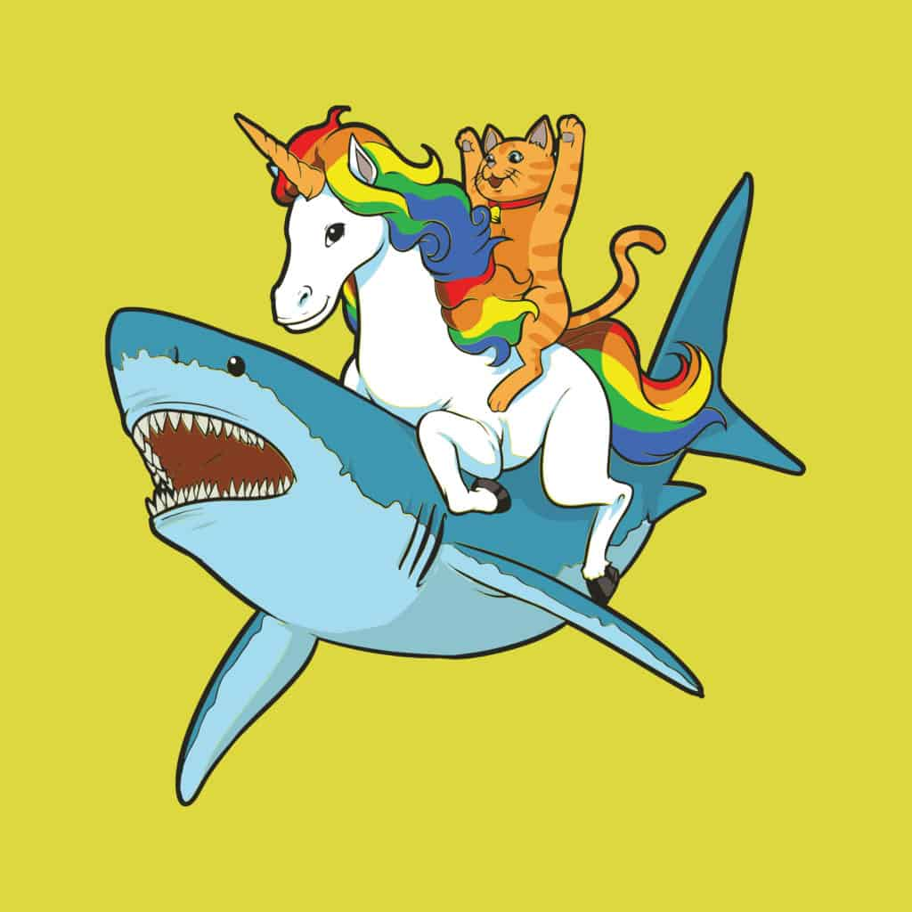 vector art of a shark, unicorn and a cat in a wild ride