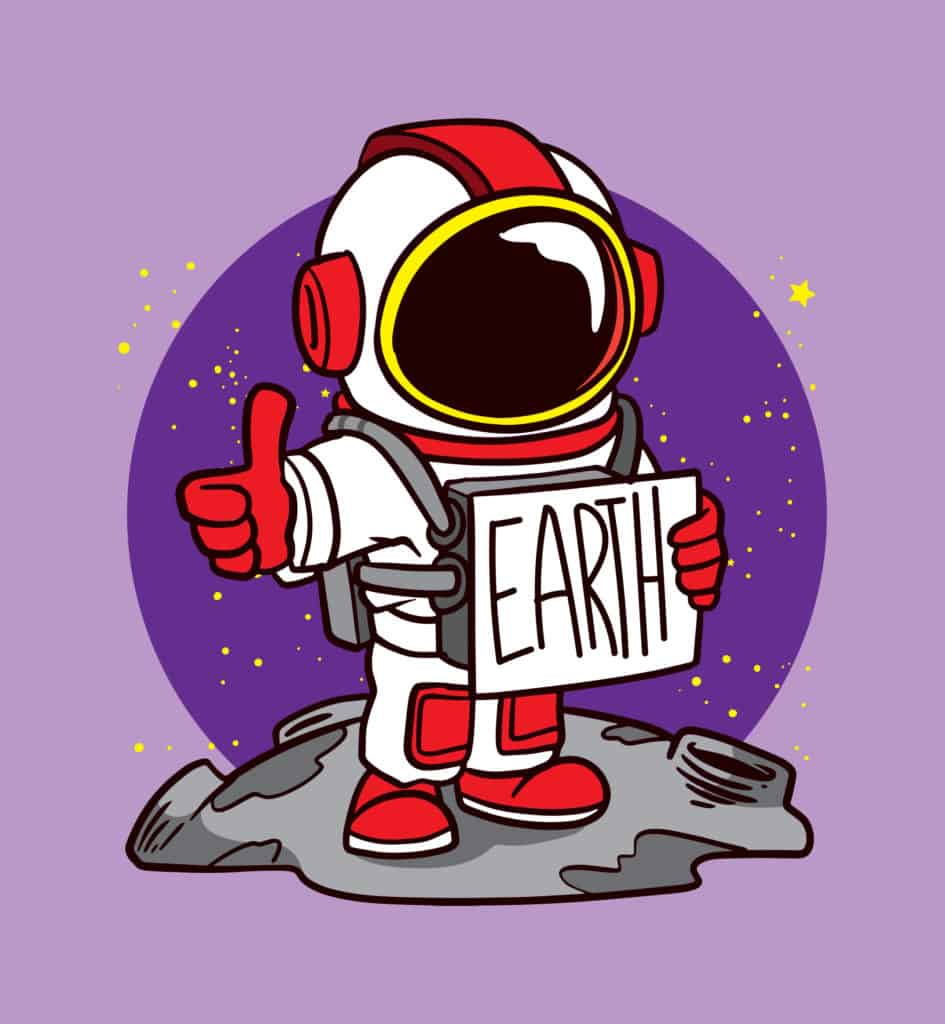 vector art of an astronaut from earth making the okay sign