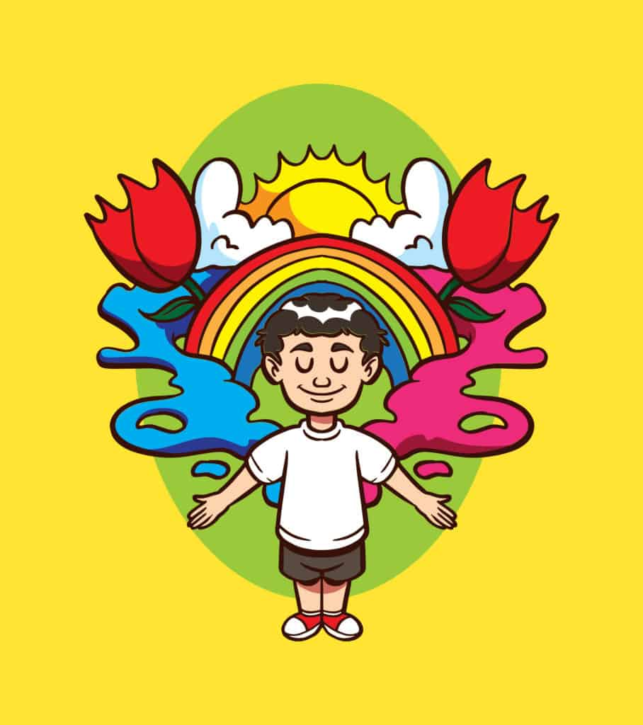 vector art of a boy with an imaginative mind showing the sun and rainbow