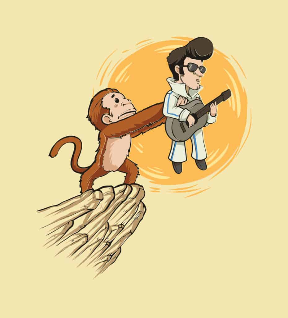 vector art of a monkey showing off the king of rock and roll