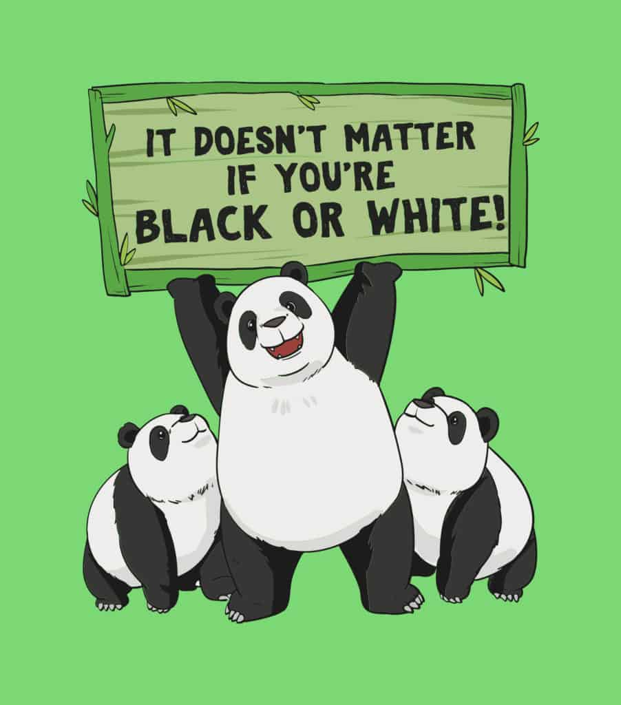 vector art of a panda promoting equality in terms of color
