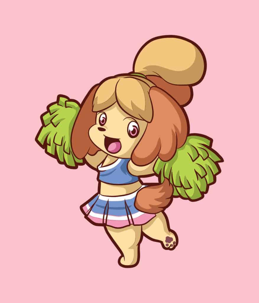 vector art of a cute cheer leading doggo