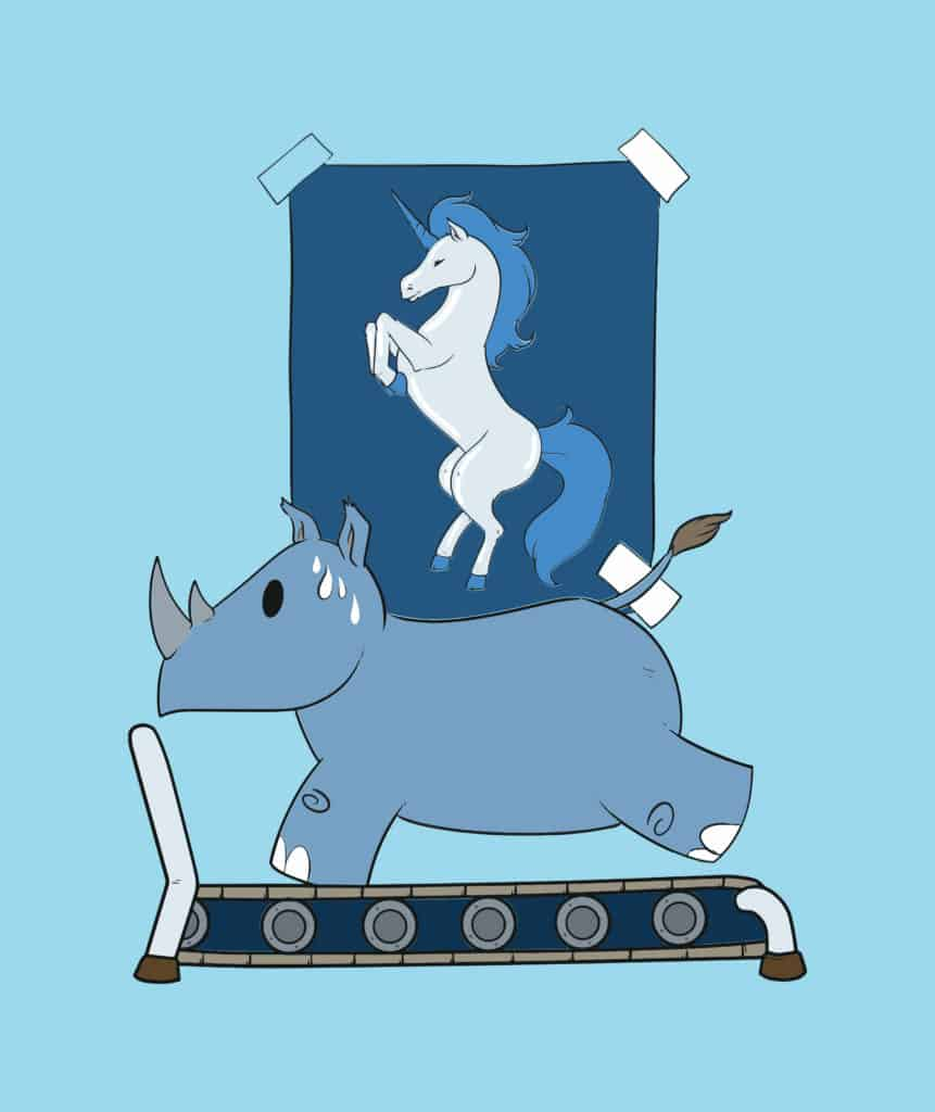 vector art of a Rhino running on a treadmill with a unicorn decoration on the wall