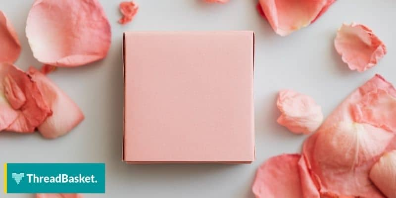 a blank pink box with some giant petals surrounding it