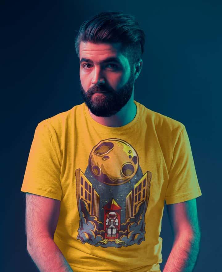 basic t shirt mockup of a serious bearded man posing against a dark wall 45850 r el2
