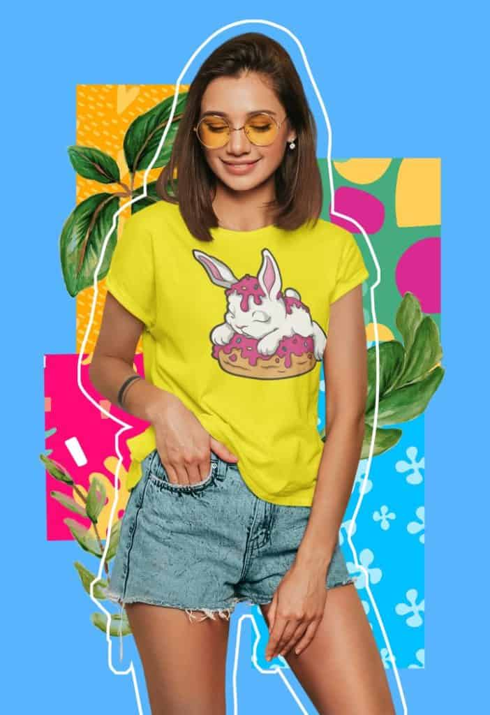 colorful t shirt mockup featuring a young woman against a collage styled background m5947 r el2