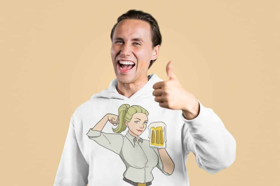 hoodie mockup of a happy man making an approval sign m2378 r el2