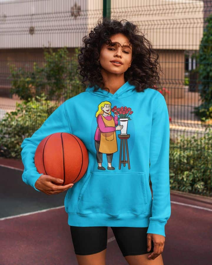 hoodie mockup of a long haired woman holding a basketball 5130 el1
