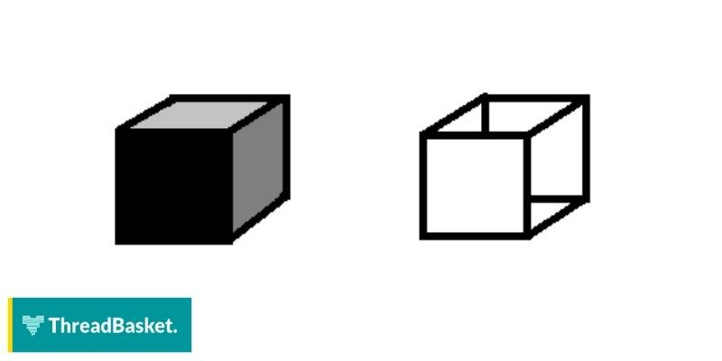 image of two boxes, black and white on white background