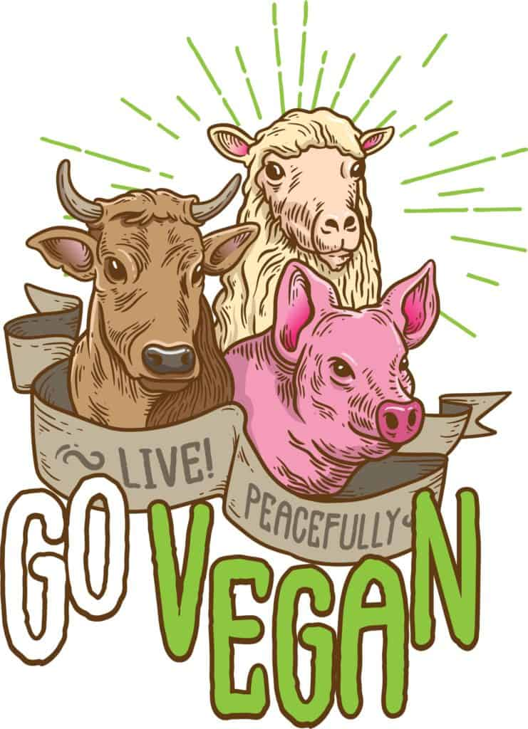 vector art that promotes going vegan to live peacefully